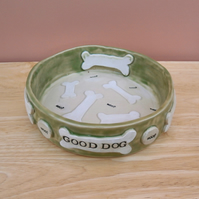 Dog food bowl with bones - Made to order large pet dish personalised  6t