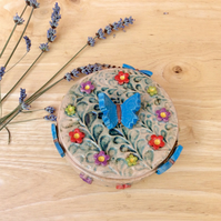 Ceramic jewellery box with flowers and butterflies - trinket box