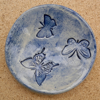 Blue butterfly ring dish - Ceramic ring holder - stoneware tealight holder