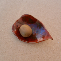 Red leaf trinket dish - Handmade  Red stoneware leaf bowl -  tealight holder