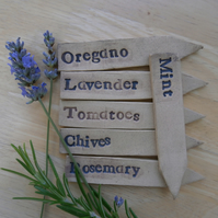 Herb marker, Seed name tags, Ceramic plant stakes set of 3, Made to order  2not