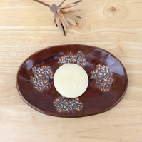 Brown soap dish - ceramic soap tray with trees - bathroom accessory