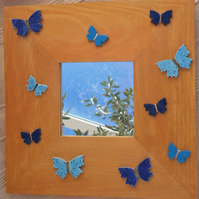 Mirror with blue butterflies - Decorative mirror with golden wooden frame