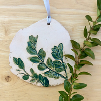 Box leaves hanging ornament, Ceramic green decoration, Home decor