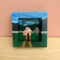 Needle felted landscape with ceramic house and tree - mixed media wall art