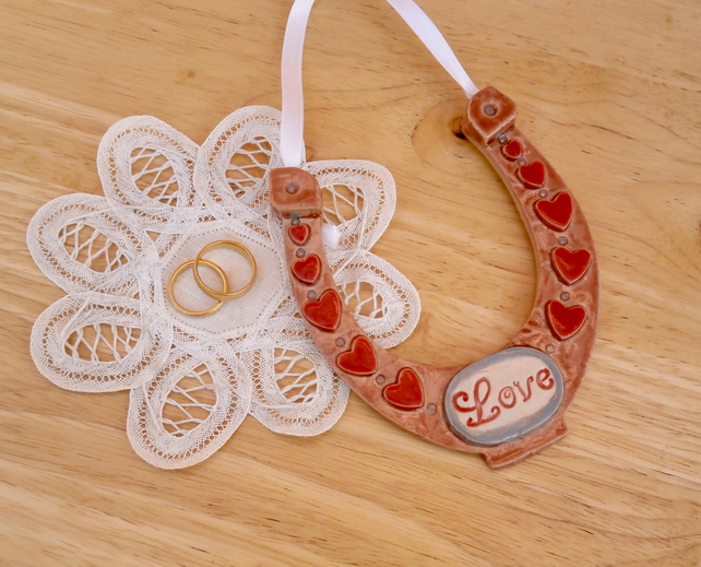 Love horseshoe ornament with red hearts - wedding gift - Valentine's day gift