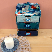 Blue jewellery box - Chest of drawers with butterflies - Decoupaged box