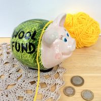 Piggy bank for wool lovers, Pink and green pig coin bank, Cash bank, 4t