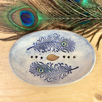 Green or blue soap dish with peacock feathers, Bathroom accessory,