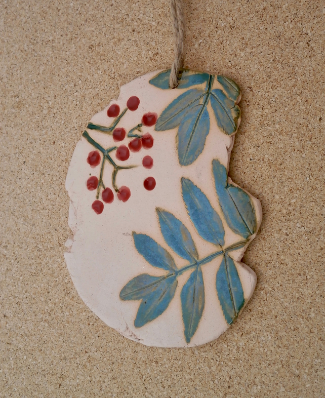Ceramic rowan hanging ornament - Wall art with rowan leaves and berries
