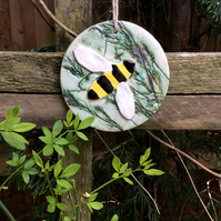Ceramic bee ornament, Bee hanging ornament, Home decor