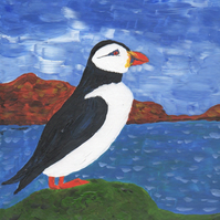 Greeting card with puffin and sea, Art card with wild life