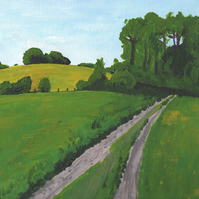 Greeting card fields in Lake District, Art card hills, Green English Landscape
