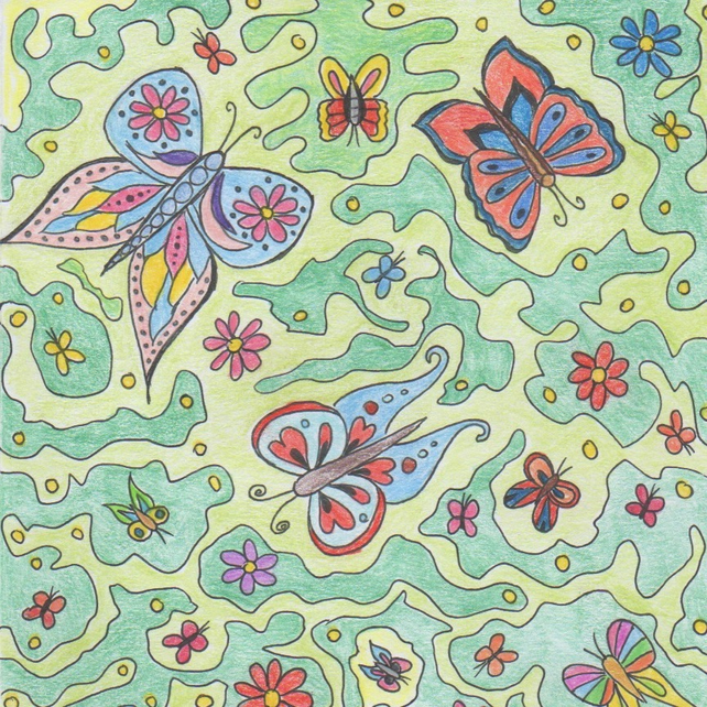 Greeting card with butterflies, Colourful card, Square modern card