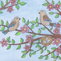 Greeting card with birds and flowers, Colourful card, Summer card, Pink flowers