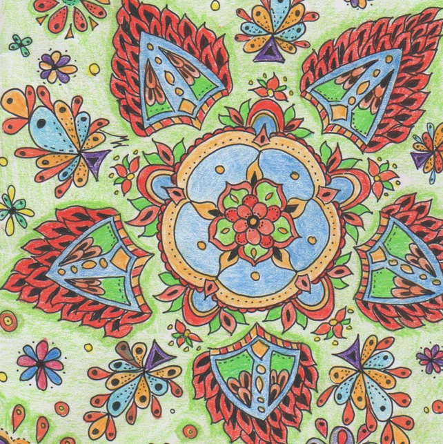 Greeting card paisley flowers, Colourful card, Summer card