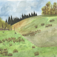 Greeting card Cumbrian hills, Art card trees, English Landscape, Greenery