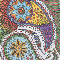 Greeting card paisley doodles with scalloped edge, Colourful art card