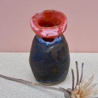 Red and bronze ceramic bud vase - Handmade stoneware vase, 3not