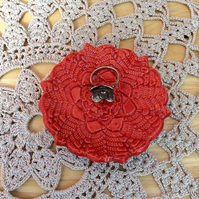 Red ring dish, ceramic tealight holder, ring holder with lace pattern