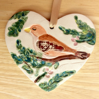 Bird on heart hanging ornament  - Pink brown and green wall home decor 1LL