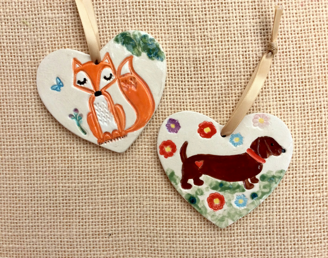 Dachshund or Fox on heart hanging ornament:  - dog wall home decor