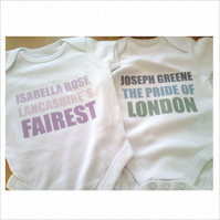 Babygrows  Personalised  Totally Bespoke Gifts