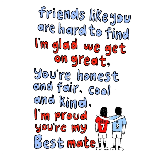 Best Friend Cards Hand Drawn & Lovely Words