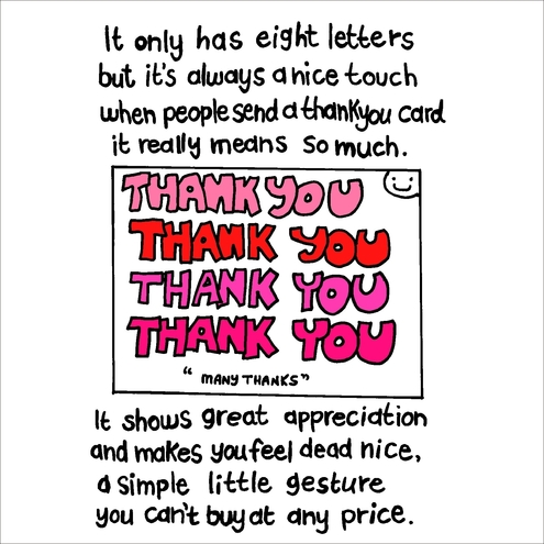 Thankyou Card  Hand Drawn And Worded