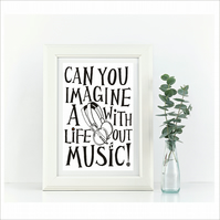 Life Without Music  Framed Print