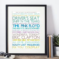 Framed Favourite Songs Personalised Print