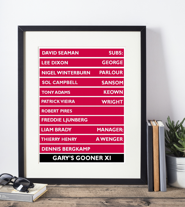 Framed All Time Favourite Football  XI Print