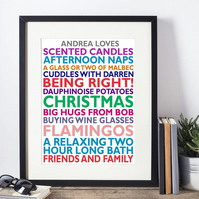 Framed Favourite Things Personalised Print