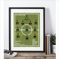 Framed  Favourite Football Team  Print (Subbuteo Style)