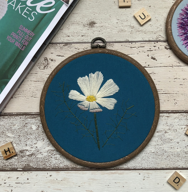 Floral Embroidery Art Hoop, Teal