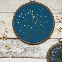 Floral Embroidery Art Hoop, Teal, Babies breath