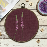 Hand Embroidered Floral Art Hoop - Magenta