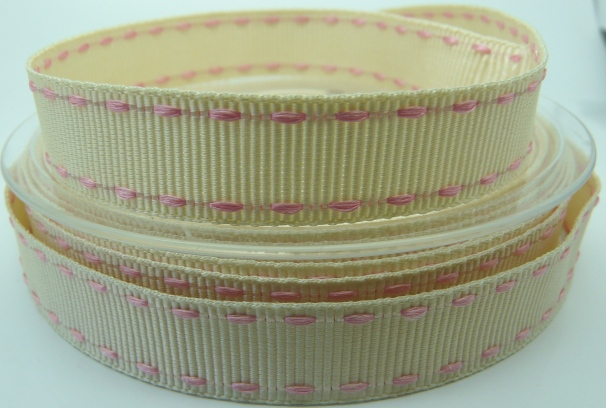 Beautiful cream ribbon with light pink stitching