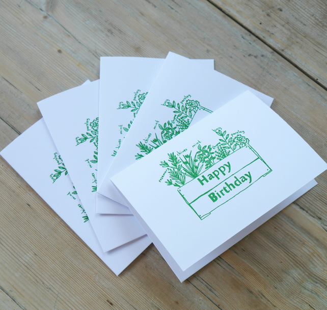 5 Birthday Cards- hand printed - FREE UK P&P