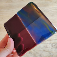 "Patchwork Purple and ""Oil Slick"" Effect Glass Coaster"