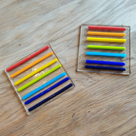 REDUCED - Rainbow 3D Stripe Coaster with uneven lines
