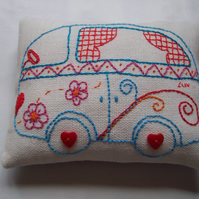 Hand embroidered Pin cushion. (the Luv van)