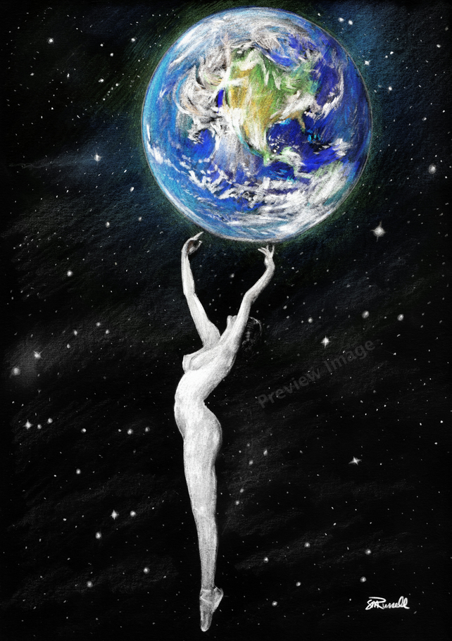 'Mother Earth' - Nude Female A4 Size ART PRINT of drawing by Russellart