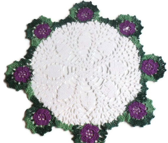 Hearts and flowers crocheted doily