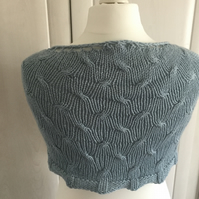 Duck egg blue cabled shawl
