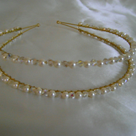 Crystal & Cream Pearl Double Band