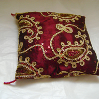 Red & Gold Wedding Ring Cushion