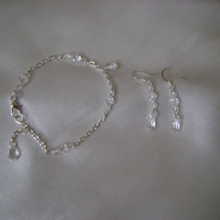 Clear Crystal  Bracelet & Earring Set