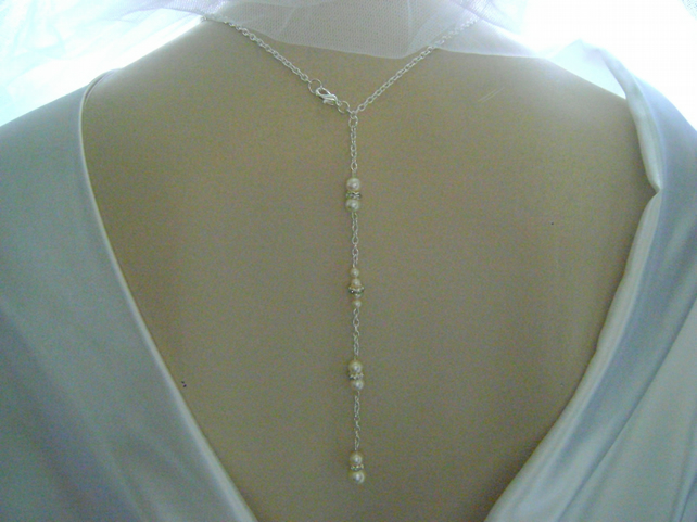 Cream Pearl & Rhinestone Backdrop Bridal Necklace