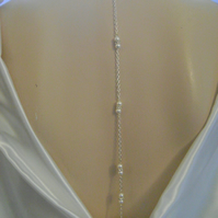 Long Backdrop White Pearl & Rhinestone Bridal Necklace